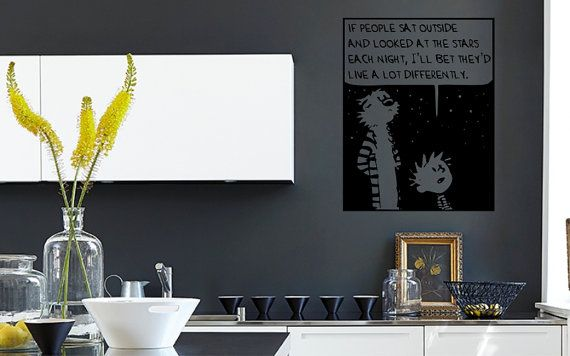 CALVIN & HOBBES - If people sat outside and looked at the stars each night, I'll bet they'd live a lot differently | Wall Sticker