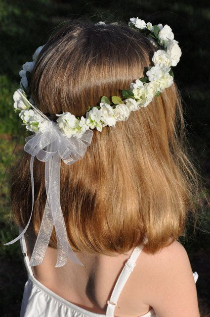 White silk Hydrangea and Rose hair wreath by Hollysflowershoppe on Etsy!