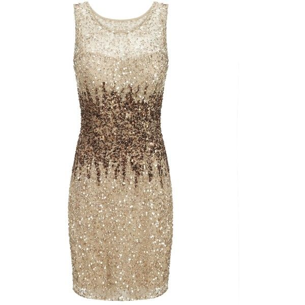 Adrianna Papell Short Bead Dress, Champagne (£75) ❤ liked on Polyvore featuring dresses, vestidos, cocktail dresses, short dresses, beaded cocktail dress, maxi dresses, short cocktail dresses, bodycon maxi dress and champagne cocktail dress