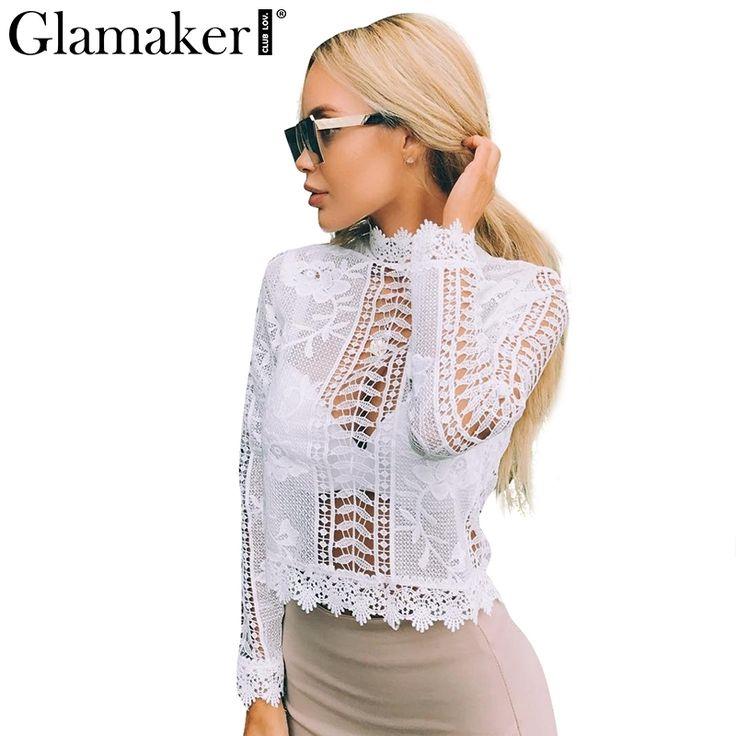 Glamaker сексуальная белое кружево блузка рубашка Женщины топы элегантный выдалбливают блузка Летние топы женские блузки с длинным рукавом blusas купить на AliExpress