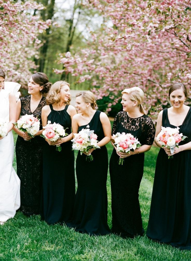 long black bridesmaid | Mix and Match Bridesmaids to Look Gorgeous | http://www.itakeyou.co.uk/wedding/mix-and-match-bridesmaids #bridesmaids