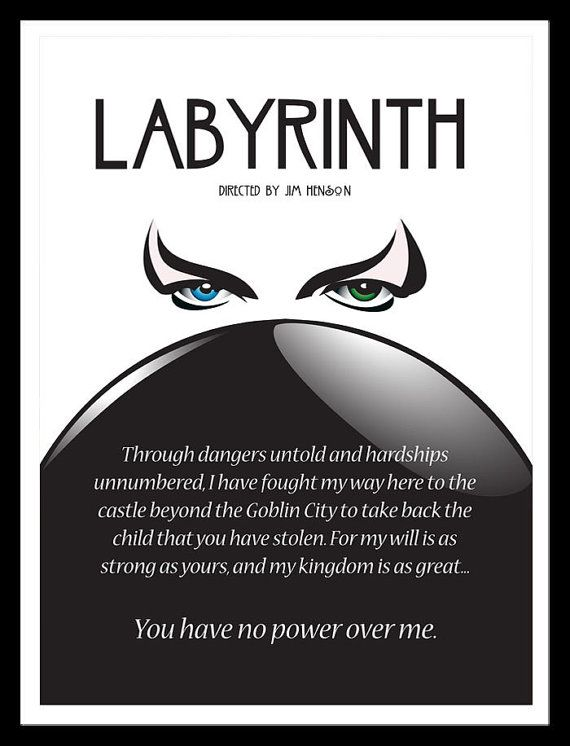 Labyrinth Movie Poster Jim Henson David Bowie 11 x by FADEGrafix