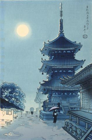 Benji Asada (Japanese, 1899-1984) - Kiyomizu Temple, Misty Moon