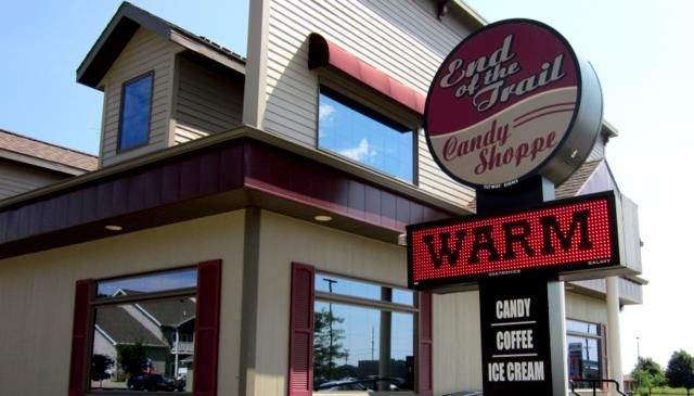 Guth's End of the Trail Candy Shoppe - Waupun, WI - all kinds of chocolates, novelty candies, fudge, homemade popcorn, cheese corn, caramel corn and gourmet popcorn mixes, coffee, ice cream and gifts. A really fun shop.