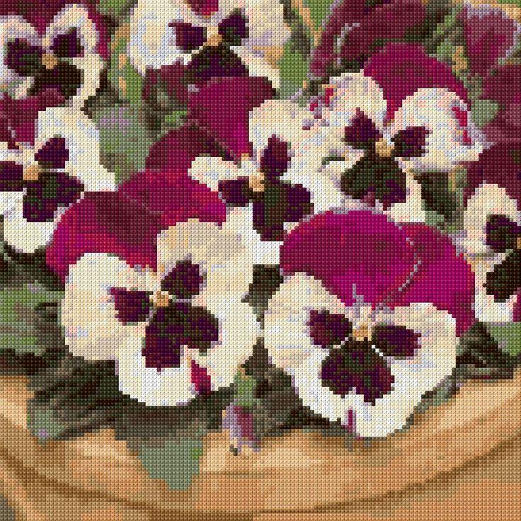 Purple Pansies Free Cross Stitch Pattern