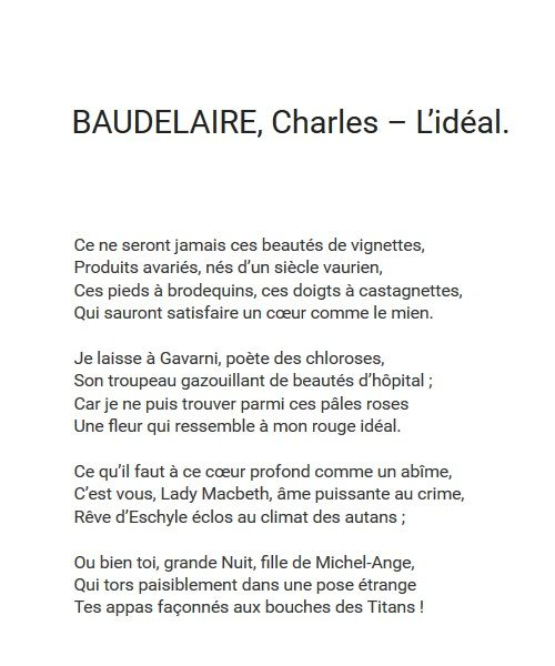 Baudelaire, L'idéal | https://www.youtube.com/watch?v=o_i8EcEDTbs