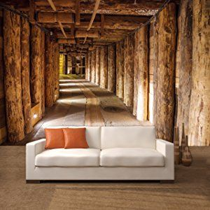 WTD Salt Mine 366 x 254 cm papel pintado de mina de sal diseño de tronco de árbol de madera