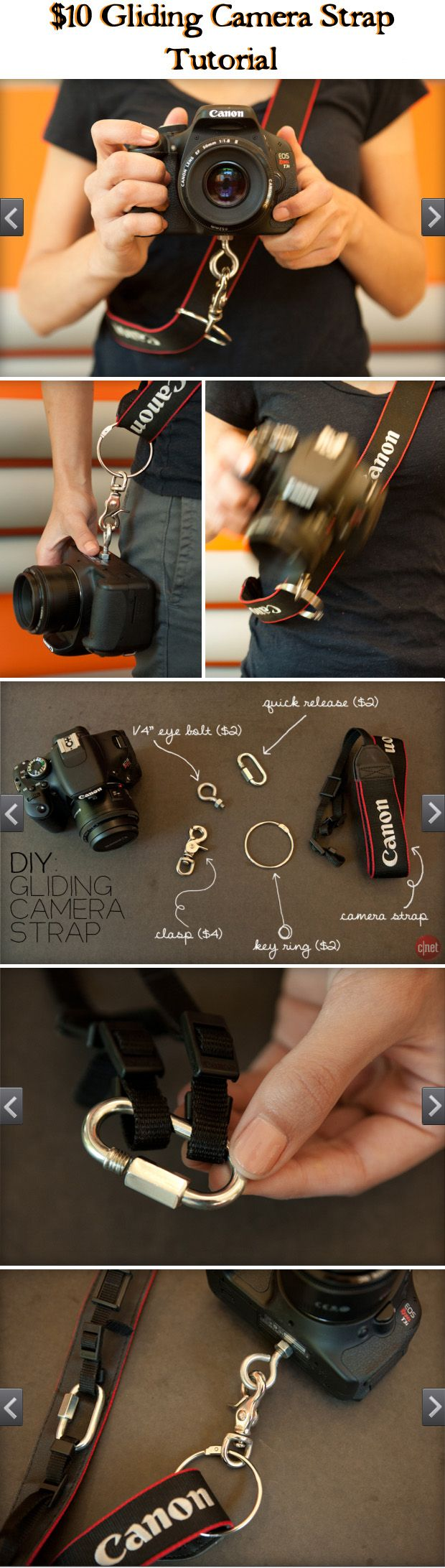 CAMERA ACCESSORIES :: $10 DIY Gliding Camera Strap (VIDEO) Tutorial :: These straps go for 60+ bucks. Learn how to make one for less than 10! Super easy! Now you can wear your camera across your body (not weighing on your neck) & have it at the ready w/ ease! | #cnet