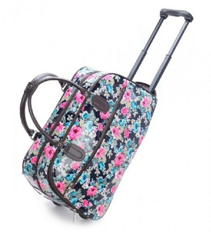 Blue Flower Print Weekend Travel Luggage Bug - The Handbag Hut - £30 and free delivery