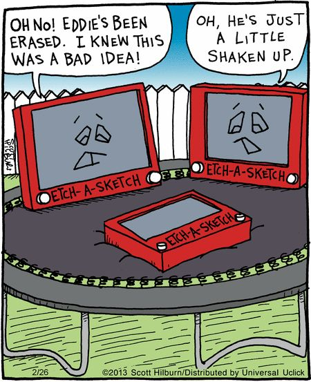 The hazards of jumping on a trampoline. The Argyle Sweater on GoComics.com #humor #comics #EtchASketch #trampoline
