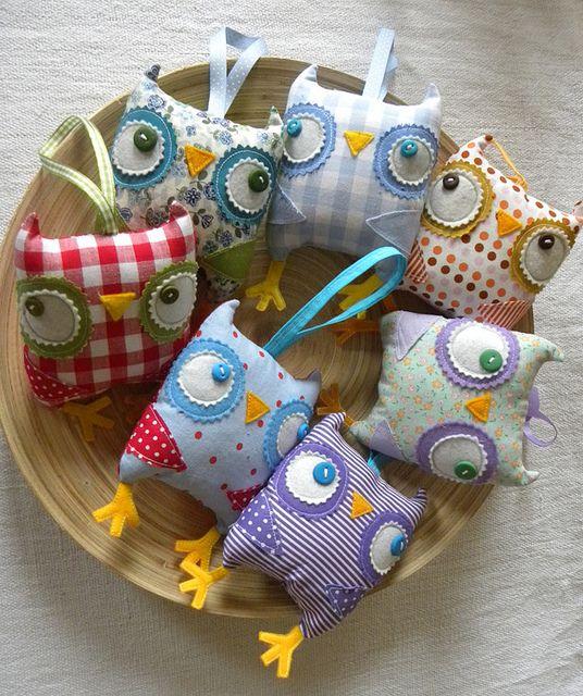 Lavander Owlie sachets, LAvendel-Säckchen als Eule, Kräuter-Säckchen