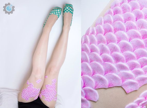 Mermaid Tights with handmade silicone scales on thigh $72