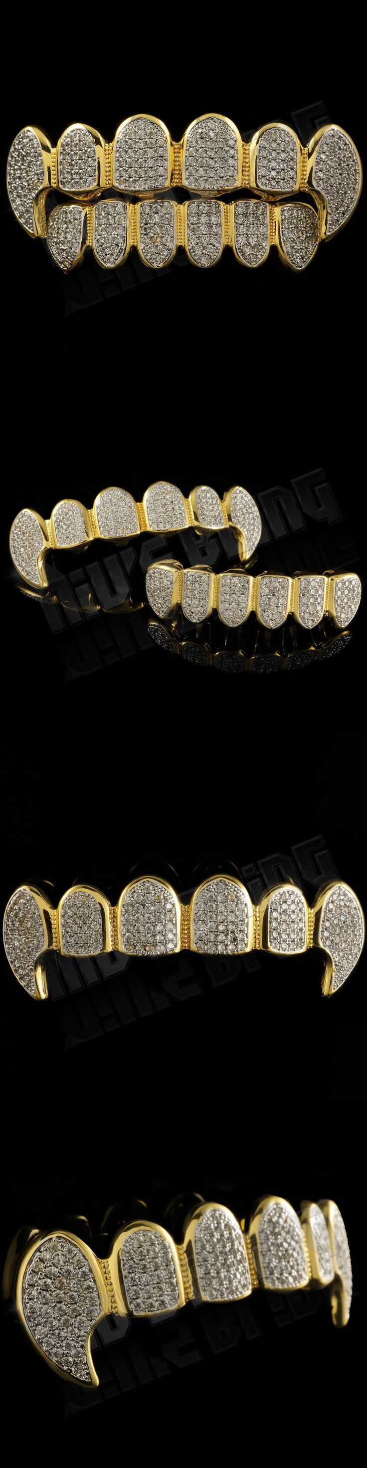 Grillz Dental Grills 152808: 18K Gold Plated Cz Vampire Dracula Fangs Top Bottom Rhodium Grillz Teeth Grills BUY IT NOW ONLY: $54.99