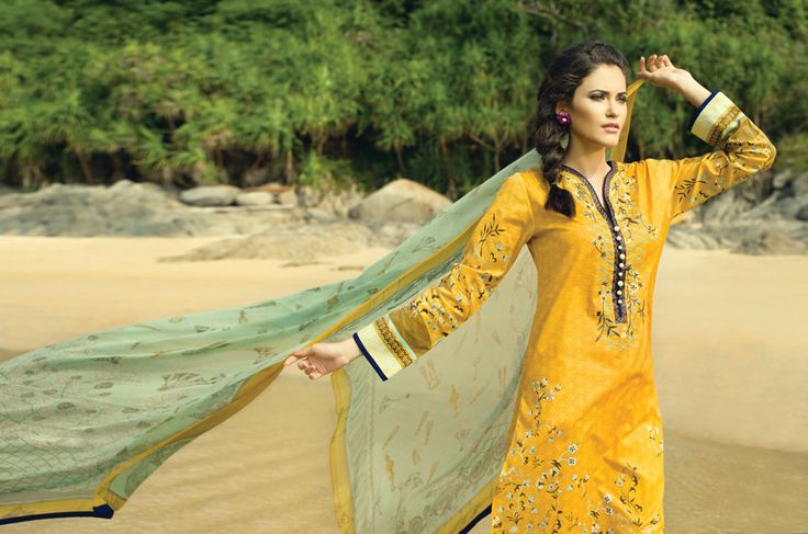 SM#09 CHROME YELLOW  BANO-LADY STITCHED - UNSTITCHED SILK CHIFFON DUPATTA 1.25 MTR EMBROIDERED SHIRT FRONT 1.25 MTR EMBROIDERED SHIRT BACK EXTRA SLEEVES DYED SHALWAR