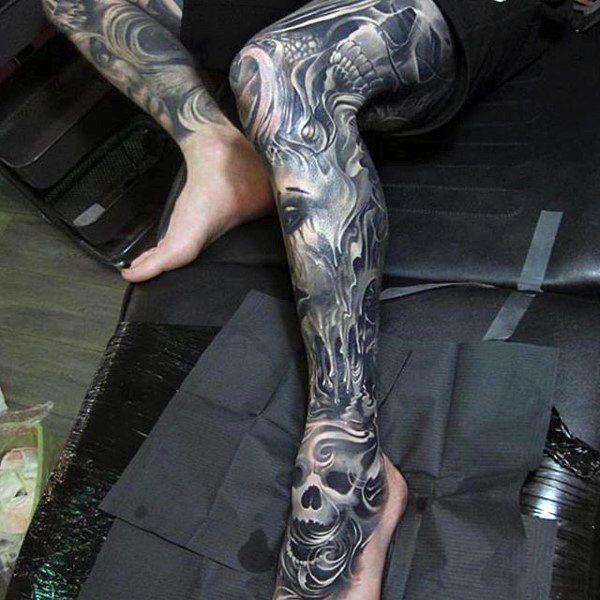 Top 100 Best Cool Tattoos For Guys Masculine Design Ideas Calf Tattoo Full Leg Tattoos Leg Sleeve Tattoo