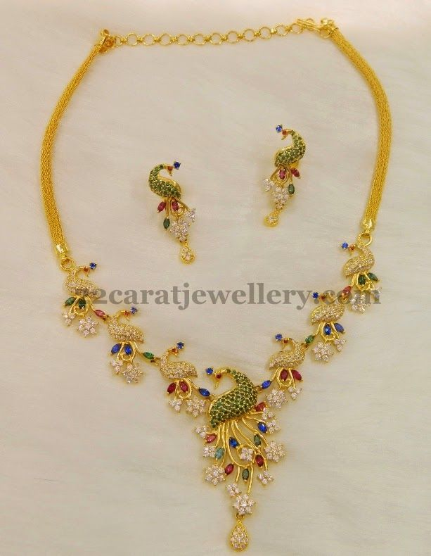 Jewellery Designs: CZ Peacock Floral Necklace