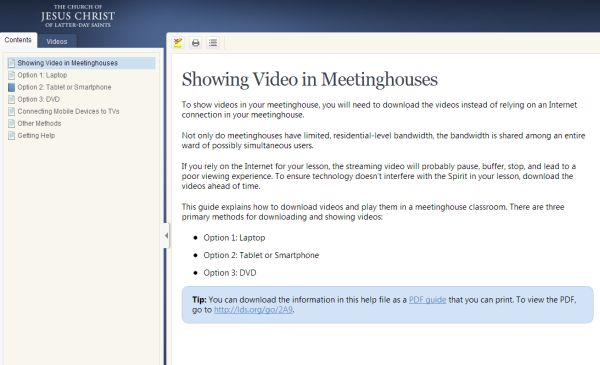 Showing Video in Meetinghouses - tech help for mobile devices
