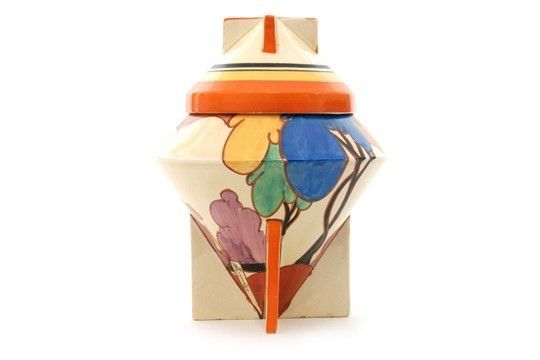 CLARICE CLIFF 'BLUE AUTUMN' 402 CONICAL BISCUIT BOX This Clarice Cliff 'Blue Autumn' 402 Conical Biscuit Box sold for a £2300 hammer price, just below the £2500-3000 estimate at Fieldings' Decades of Design Auction yesterday. Tricky to value, there is a strong and superbly painted repeat pattern flowing around the base but one image is incomplete. There were no condition issues apart from a few minor paint scuffs to the cover and base. Great shape. 4 March 2018