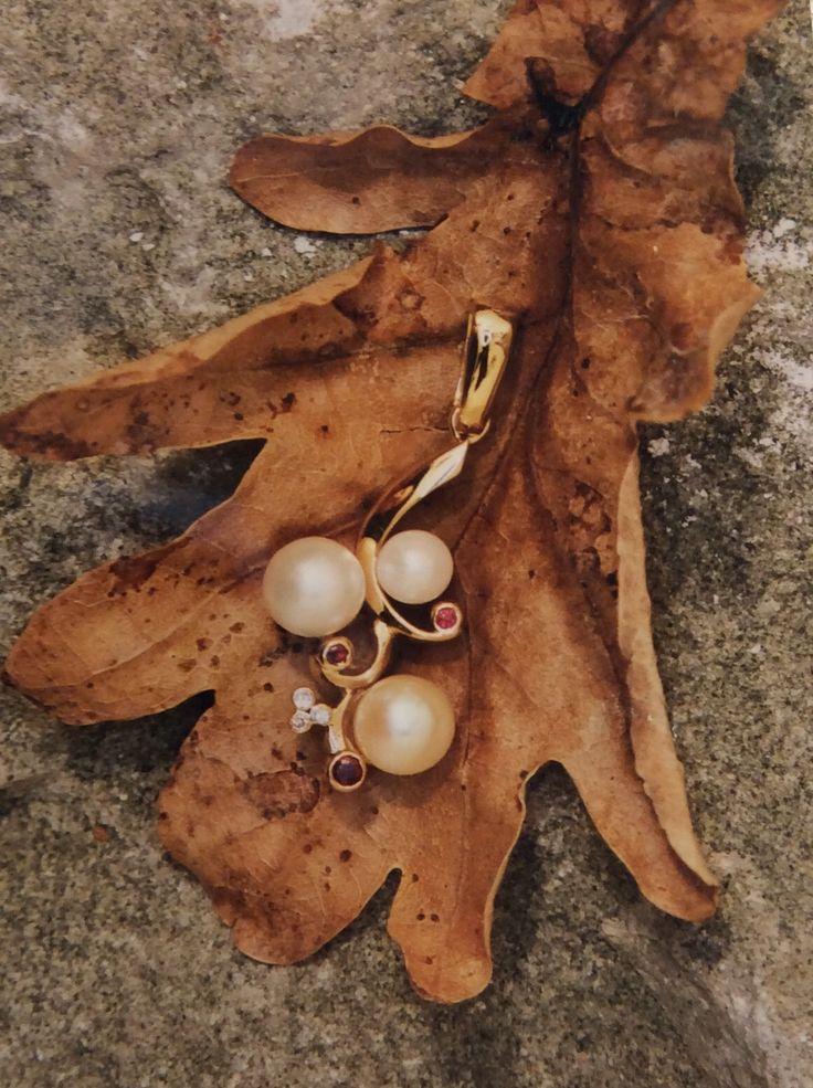 pearl ruby and diamond pendant