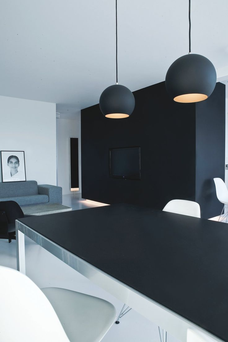 Topan VP6 pendant lamps by Verner Panton for &Tradition   Dining and living area.