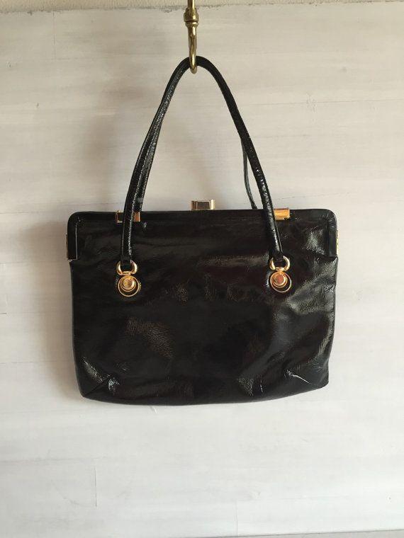 Borsa vernice nera vintage anni '70  borsa alta