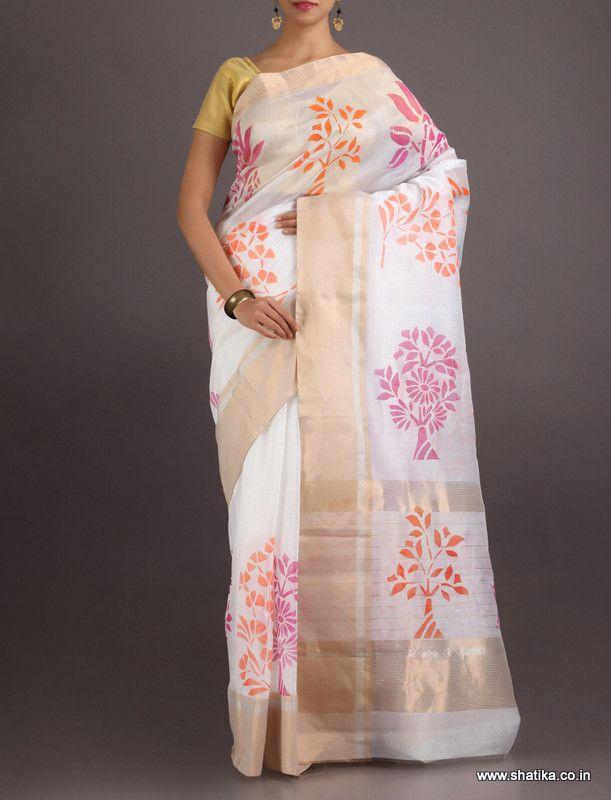 Sachi Colourful Bloom On Canvas #ChanderiBlockPrintedSaree