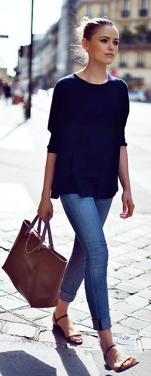 Casual fashion- jeans y blusa holgada                                                                                                                                                      More