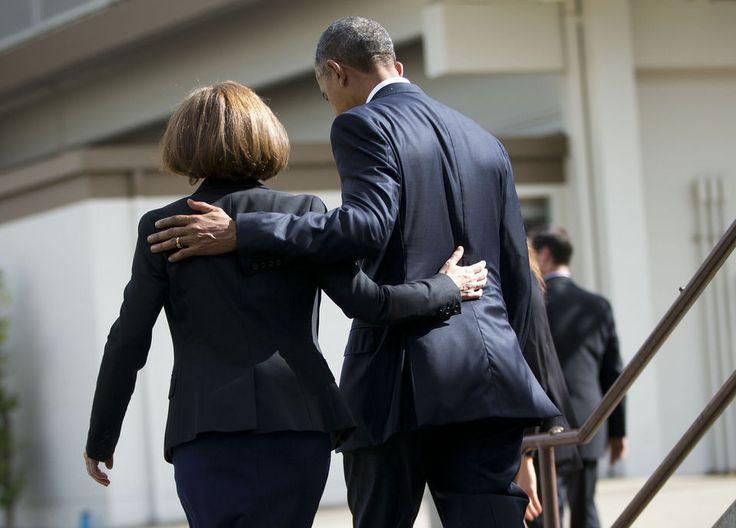 President Barack Obama and Oregon Gov. Kate Brown in Roseburg.
