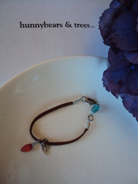 brown suede bracelet with turquoise and by HunnybearsandTrees