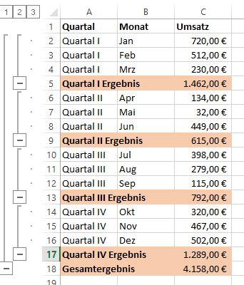 So baut Excel automatisch Zwischensummen ein. – Tippscout.de