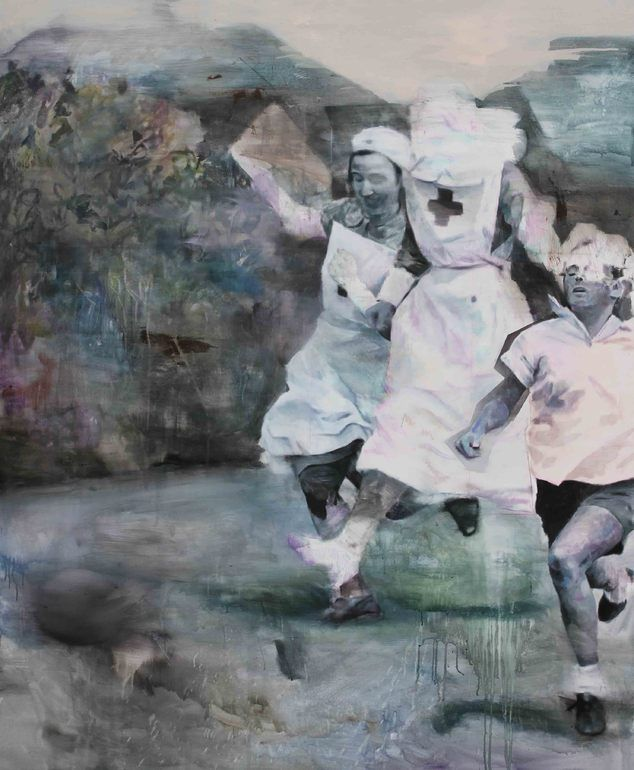 """Saatchi Online Artist: Lou ROS; Acrylic, 2013, Painting """"RUNNING FOR YOUR LIFE"""""""