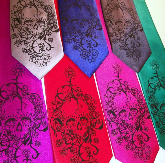 Mens Floral Skull tie Day of The Dead necktie by RokGear on Etsy, $24.20