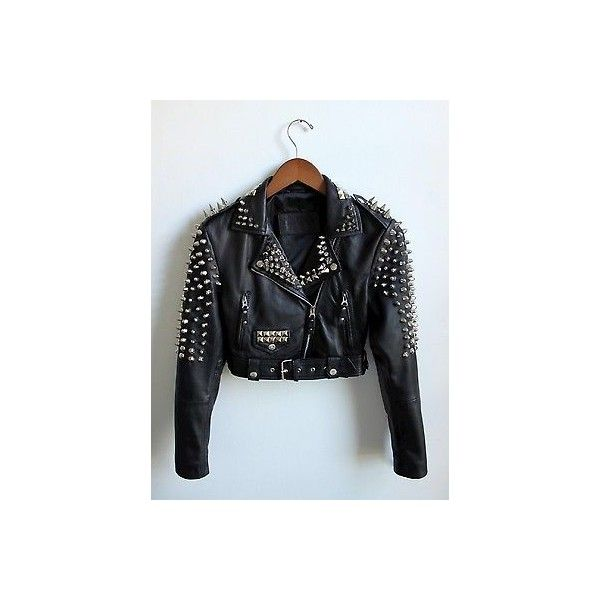 Spiked Leather Jacket Cropped Motorcycle Xs Metal Punk Studs Spikes ❤ liked on Polyvore featuring outerwear, jackets, biker jackets, motorcycle jacket, cropped moto jacket, slim leather jacket and punk leather jacket