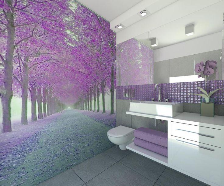 Fioletowa łazienka - Łazienka - Styl Nowoczesny - Carolineart #projekt #wnetrza #domowy.pl http://www.domowy.pl/projekty-wnetrz/lazienka/nuta-fioletu-i-szarosci-lazienka.html