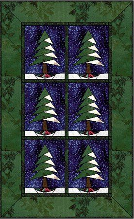 Pine Tree with Flare - perfect for a table runner. - forest quilter - great sit efor tons of paper piecing.
