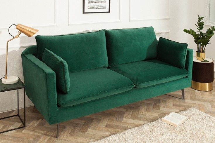 Design 3er Sofa Famous 210cm Smaragdgrun Samt Federkern Inkl Kissen 3er Sofa Grunes Sofa Und Sofa