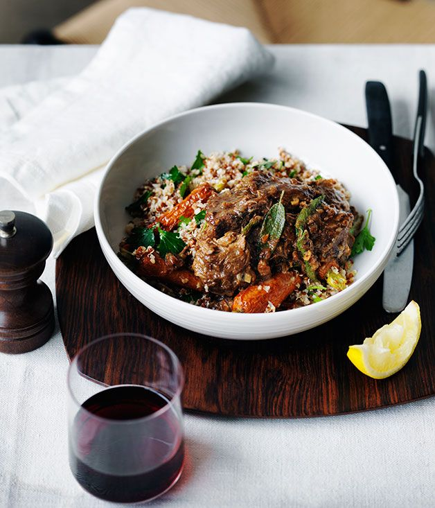 Braised lamb with roasted carrots and mixed grains recipe | Gourmet Traveller