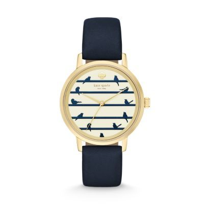 Kate Spade leather band watch 34mm 	 	Blue Metro Watch Eleven little birds adorn the index of the striped dial of this navy, cream and gold-tone Kate Spade Metro watch.