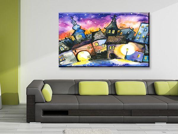 Πίνακας σε καμβά DigiWall ΤΕΧΝΗ : Μικρή πόλη τη νύχτα
