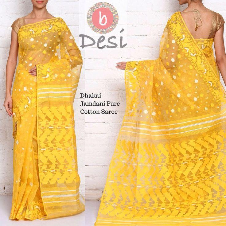 Yellow Handloom Cotton Dhakai Jamdani Saree from bDesi   | Label: bDesi | #Jamdani #Cotton #Saree #Dhakai #bDesi