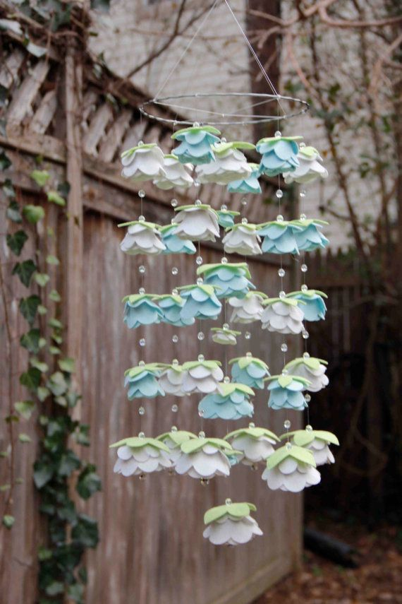 Snow Blue and Antique White- Medium Felt (LG Flower) Rose Mobile with Extra Swarovski crystals/mobile flor feltro