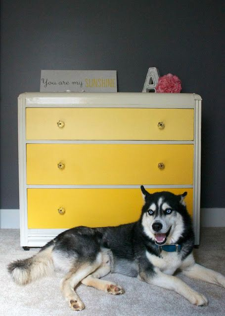 Yellow Ombre Waterfall Art Deco Dresser turned into Changing Table for Girl's Nursery.