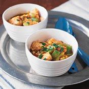 Creole Catfish Stew, Recipe - Chock-full of lima beans, corn, and chunks of catfish, this Creole-seasoned stew is a Southern delight.  The heat level is moderate, but you can increase the spiciness by adding more Tabasco sauce or a bit of cayenne pepper.