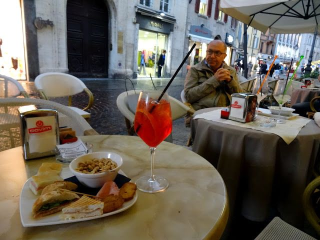 Aperitivo hour at Gran Caffe Cavour in Parma, Italy