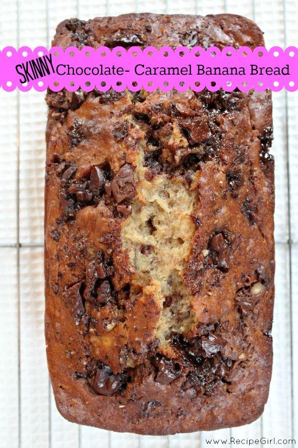 Skinny Chocolate- Caramel Banana Bread : a delicious banana bread with chocolate and caramel (made skinny).
