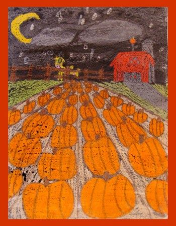 perspective pumpkin patch - neat way to teach perspective with a fall theme.