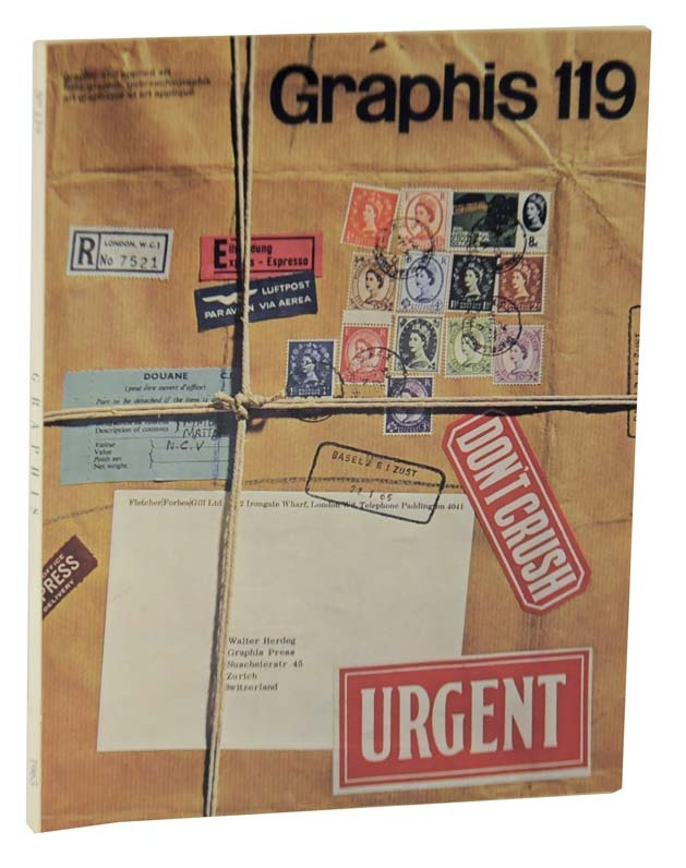 ENGLAND: Alan Fletcher, Colin Forbes, and Bob Gill, cover for Graphis, 1965. The record of a parcel's internetaional journey carrying Pentagram work to the magazine also became the package carrying Graphis to its readers. LINK to Pentagram's current website.