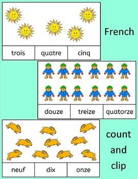 French Count and Clip cards - practice number words to 20