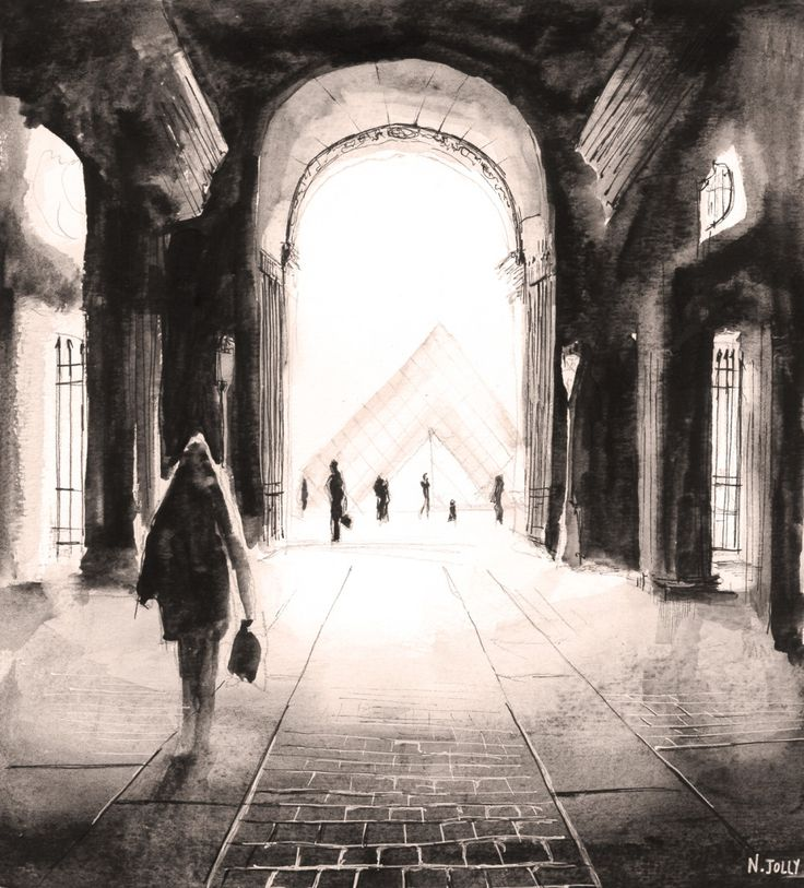 Le passage du Louvre. Paris. Watercolor painting / Aquarelle. By Nicolas Jolly. #drawing #watercolor #painting #art