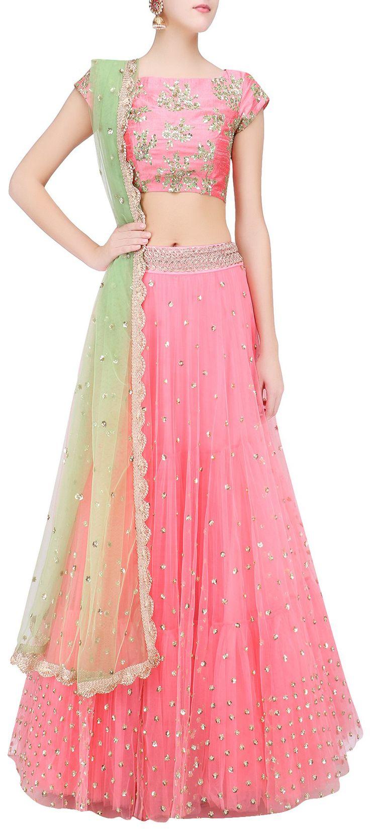729033 Pink and Majenta  color family Brides maid Lehenga, Mehendi & Sangeet Lehenga in Net fabric with Bugle Beads work .